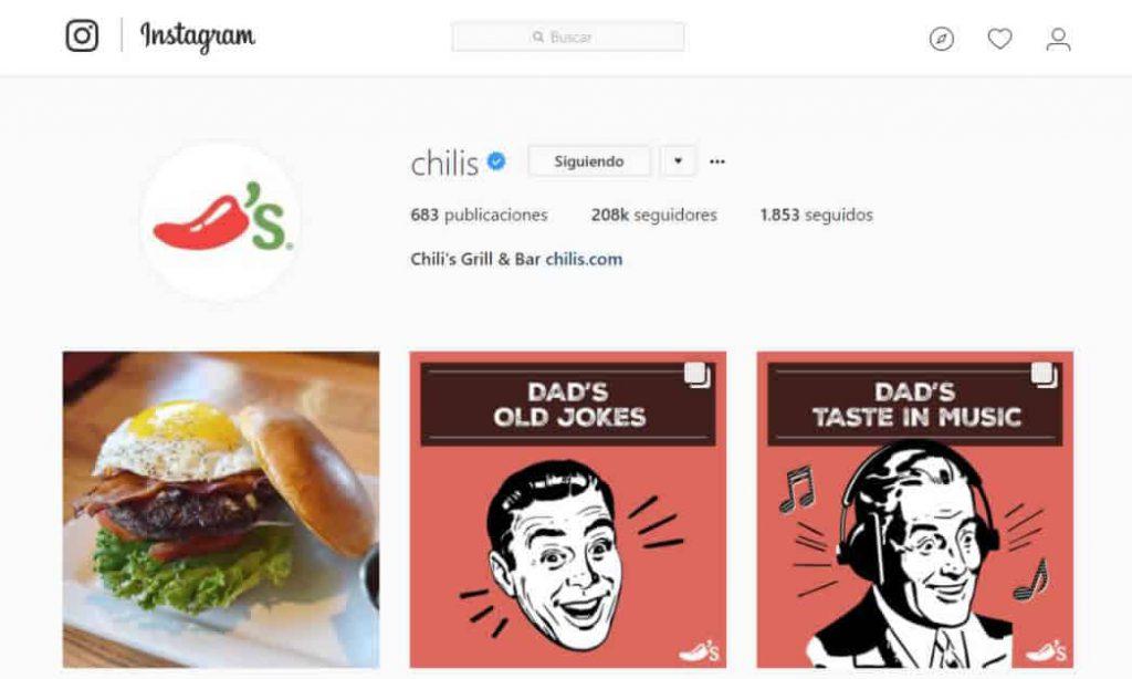 Instagram en Gastronomía - Chilis